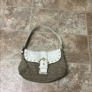 COACH Purse Beige & White Canvas Leather Handbag